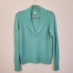 J. Crew Aqua Fuzzy Wool Blend Sweater, medium